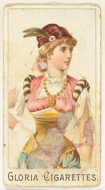 Colour postcard image of a young lady in circa 17th century dress.