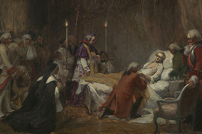 This image shows a painting depicting the death of Montcalm.