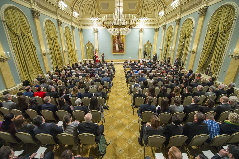 View of guests sitting in ballroom at Rideau Hall
