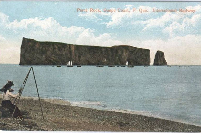 Percé Rock, Gaspe Coast, P. Que. Intercolonial Railway